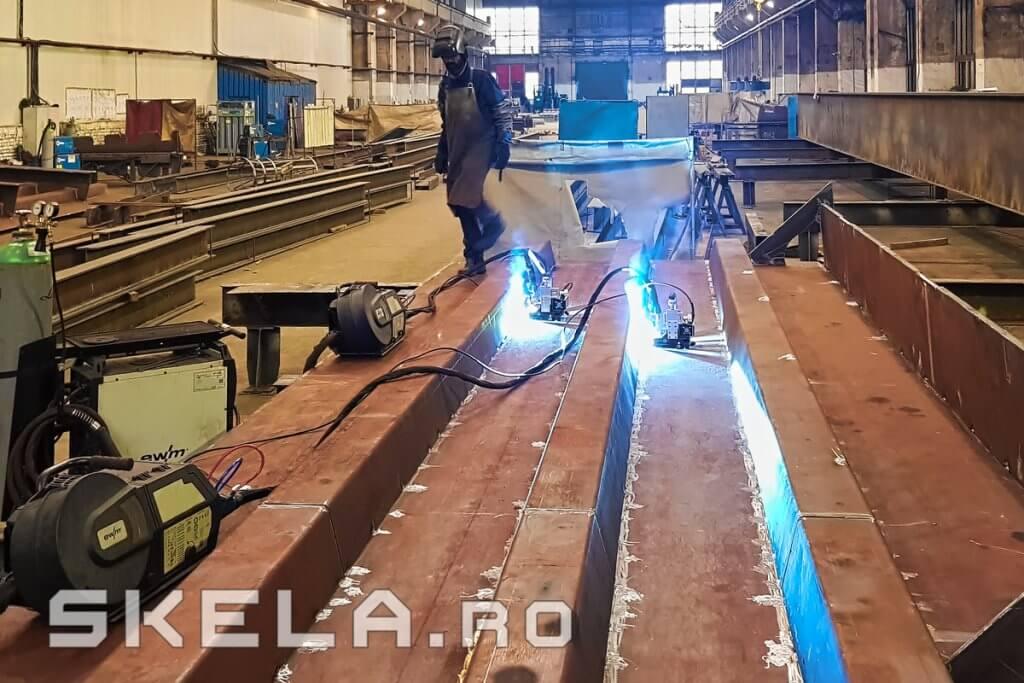 Fabrica Skela Industries - productie structura metalica tablier pod rutier Centura Bacau A7 (Autostrada Moldovei)