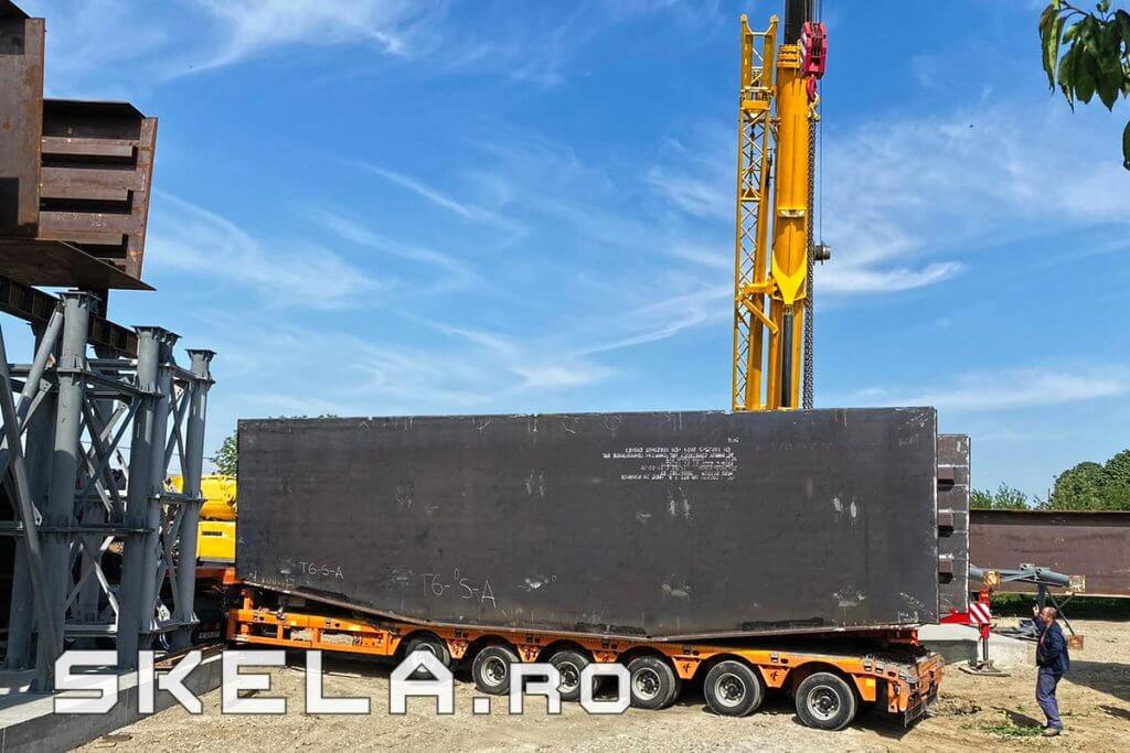 Skela Industries - transport si livrare structura metalica tablier pod infrastructura rutiera Centura Bacau A7 (Autostrada Moldovei)